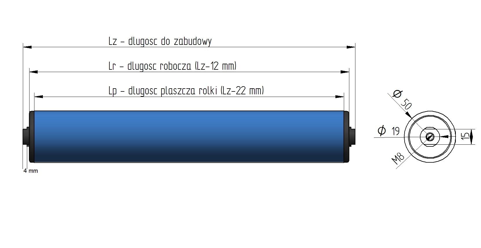 Rolka tworzywowa nb 50x2 8 m8 d ugo 300mm for Ecksofa 2 50x2 00